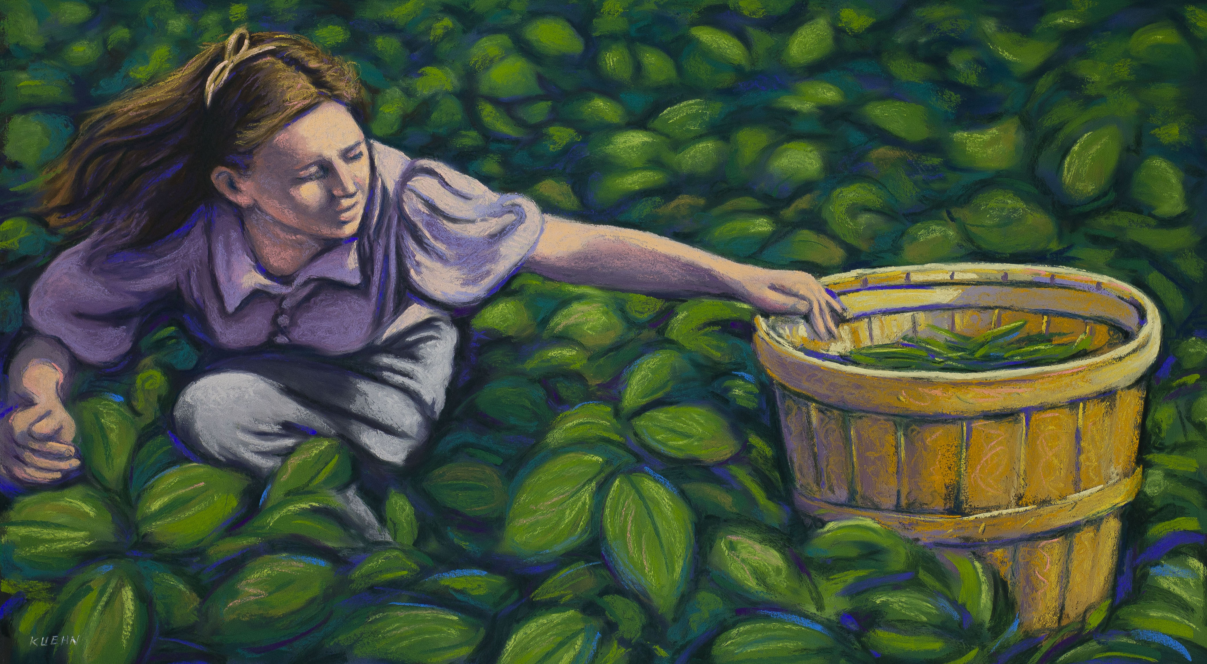 "Brian Kuehn, Picking Green Beans, pastel, 27""x39"""