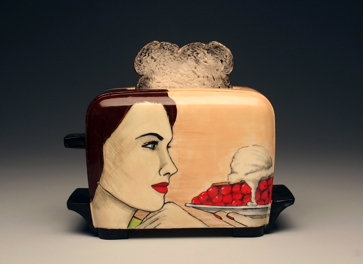 "Shalene Valenzuela, A Toast to Burning Desires: Just Desserts, slipcast ceramic with underglaze illustration, 8""x9""x5"""